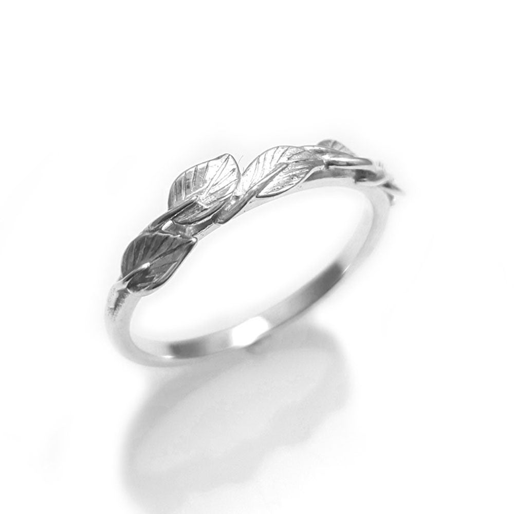 Leaves Matching wedding band in 14K white gold, wedding band, 18k leaf ring, vine ring