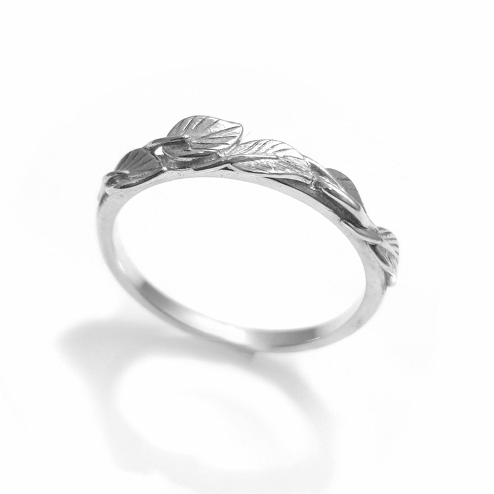 Leaves Matching wedding band in 18K white gold, wedding band, 18k leaf ring, vine ring, wedding ring