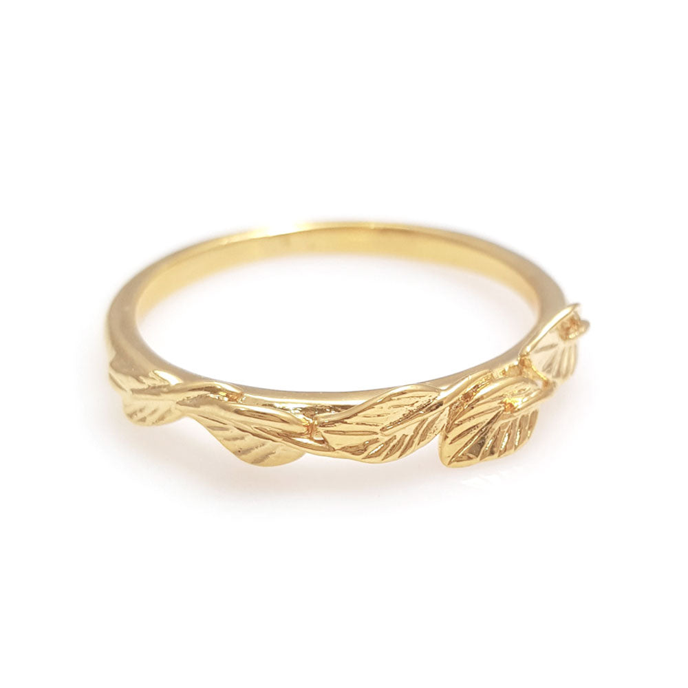 Leaves matching wedding band in 14 Karat Yellow Gold, leaf ring, vine ring, matching wedding band