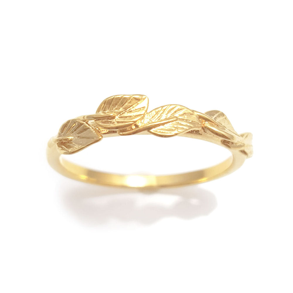 Leaves matching wedding band in 18 Karat Yellow Gold, leaf ring, vine ring, matching wedding band, engagement and weddings