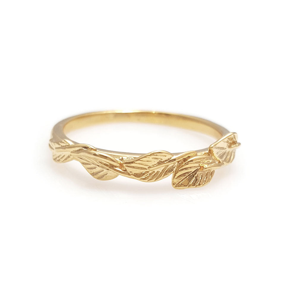 Leaves matching wedding band in 14 Karat Yellow Gold, leaf ring, vine ring, matching wedding band, wedding band