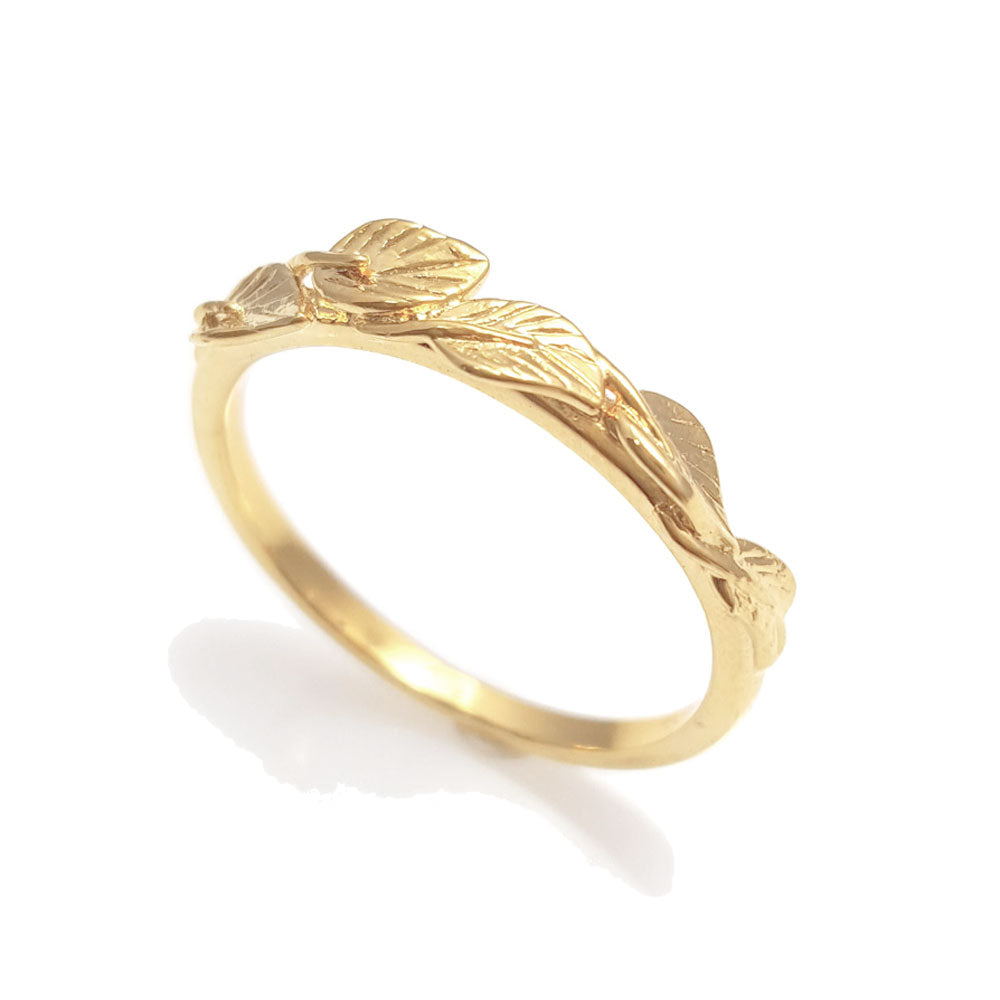 Leaves matching wedding band in 18 Karat Yellow Gold, leaf ring, vine ring, matching wedding band, wedding ring