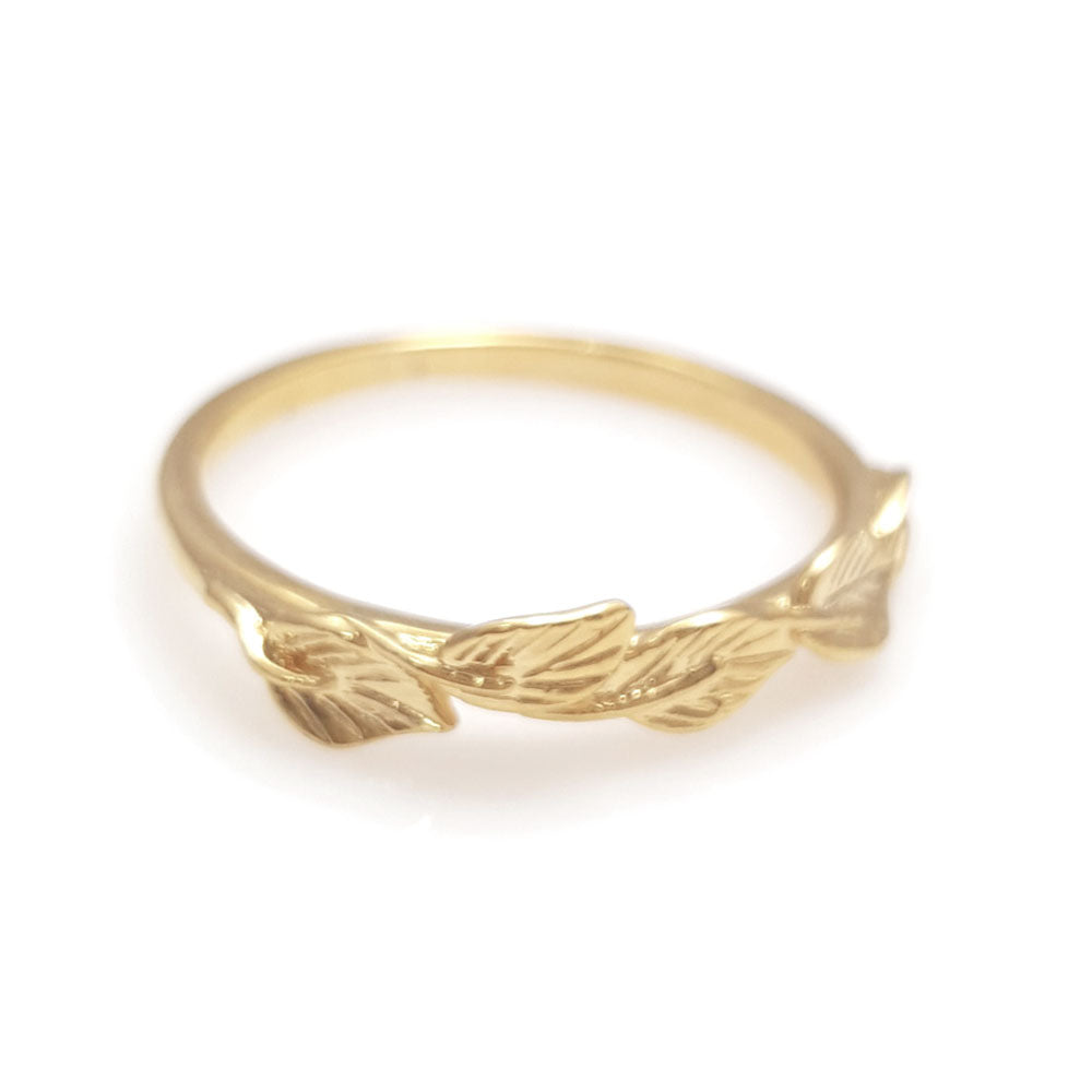 Leaves matching wedding band in 14 Karat Yellow Gold, leaf ring, vine ring, matching wedding band, weddings