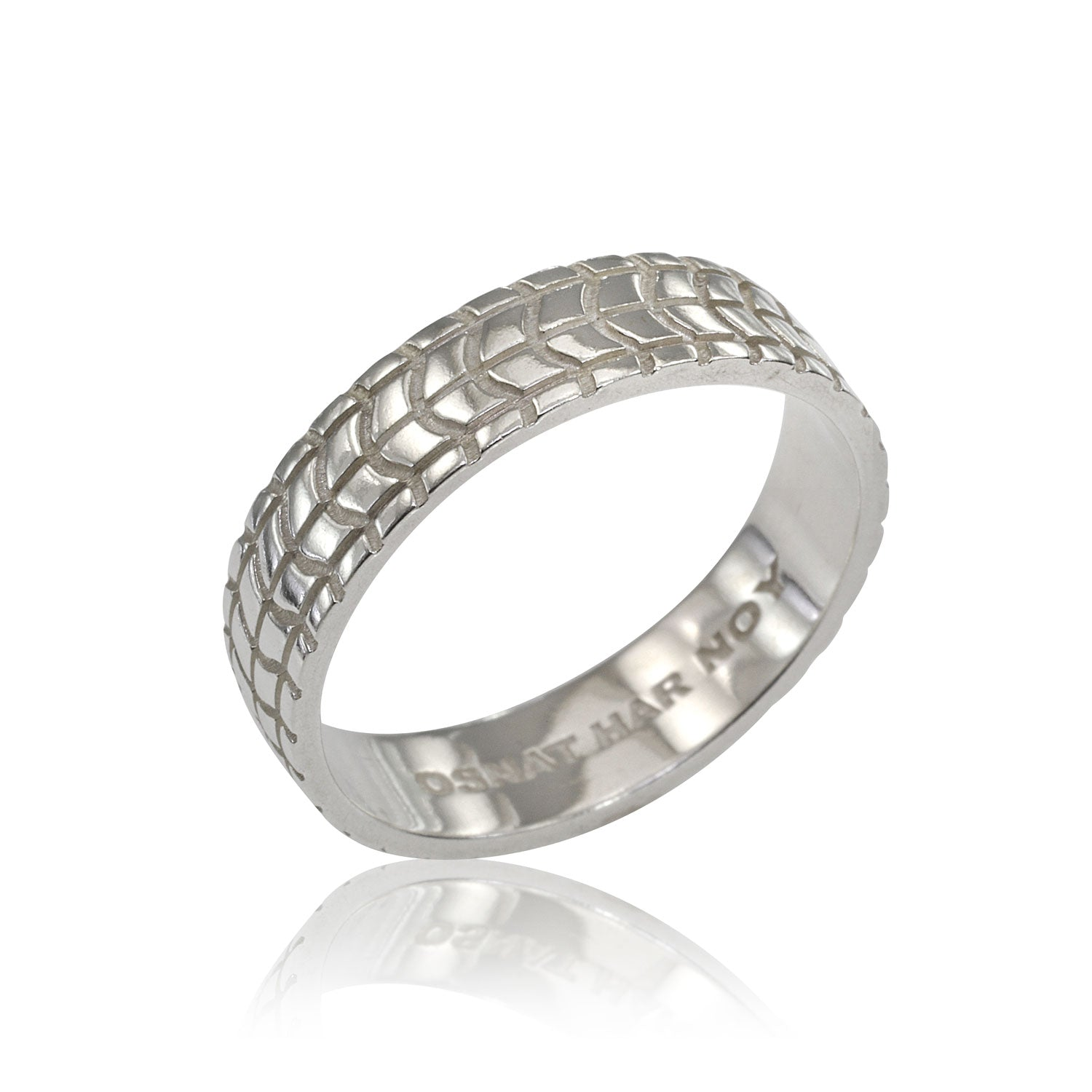 Men S 6mm Geometric Pattern Wedding Band In 14k White Gold Osnat Har Noy Jewelry