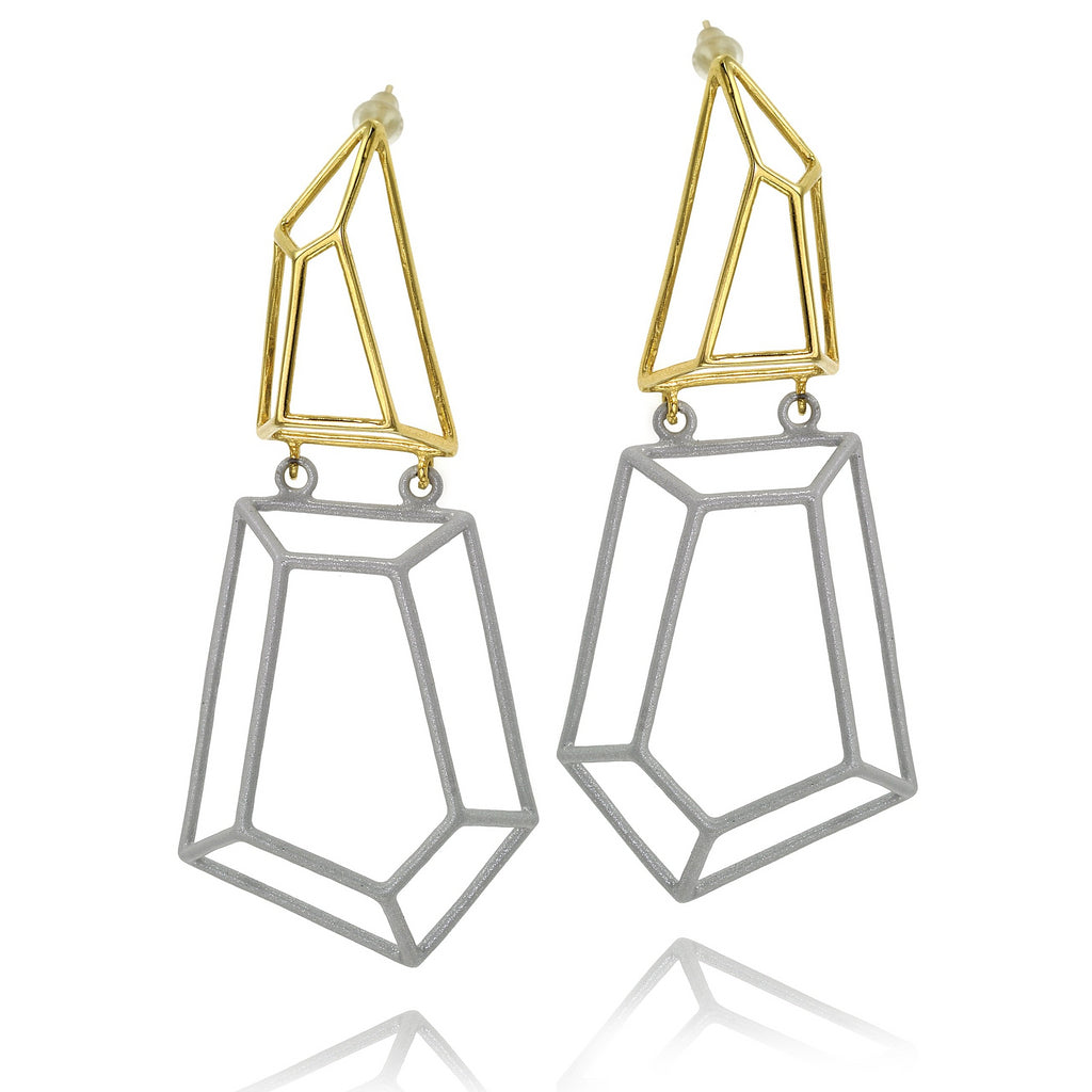 Osnat Har Noy Jewelry, geometric long earrings, geometric jewelry, dangle earrings, white and yellow gold tone earrings, blogger earrings, fashion designer earrings, dangle geometric earrings, gifts for her, bridal earrings, unique earrings, holiday gift