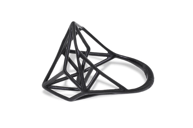 Osnat Har Noy Jewelry, geometric ring, architecture ring, black geometric ring, designer ring, faceted ring, geometric jewelry, architecture ring in black, hexagon black ring, unique black ring, unique geometric ring