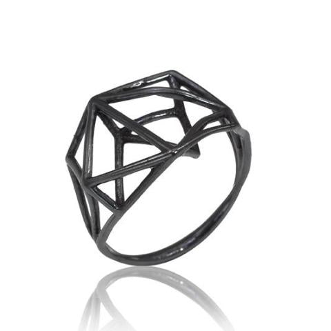 Osnat Har Noy Jewelry, black jewelry, architecture ring, geometric jewelry,  designer ring,  black geometric ring, architecture ring, black ring, black jewelry, geometric ring