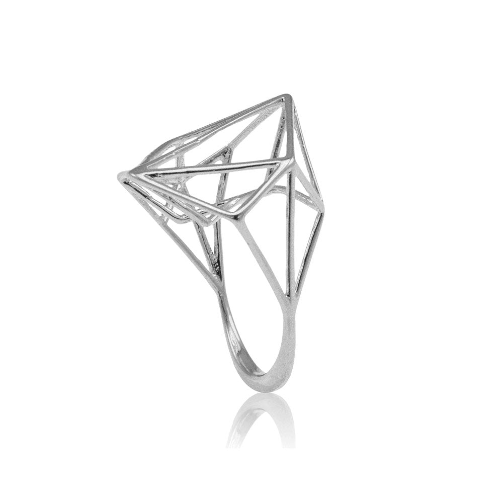 Wide Geometric Ring In Sterling Silver Osnat Har Noy