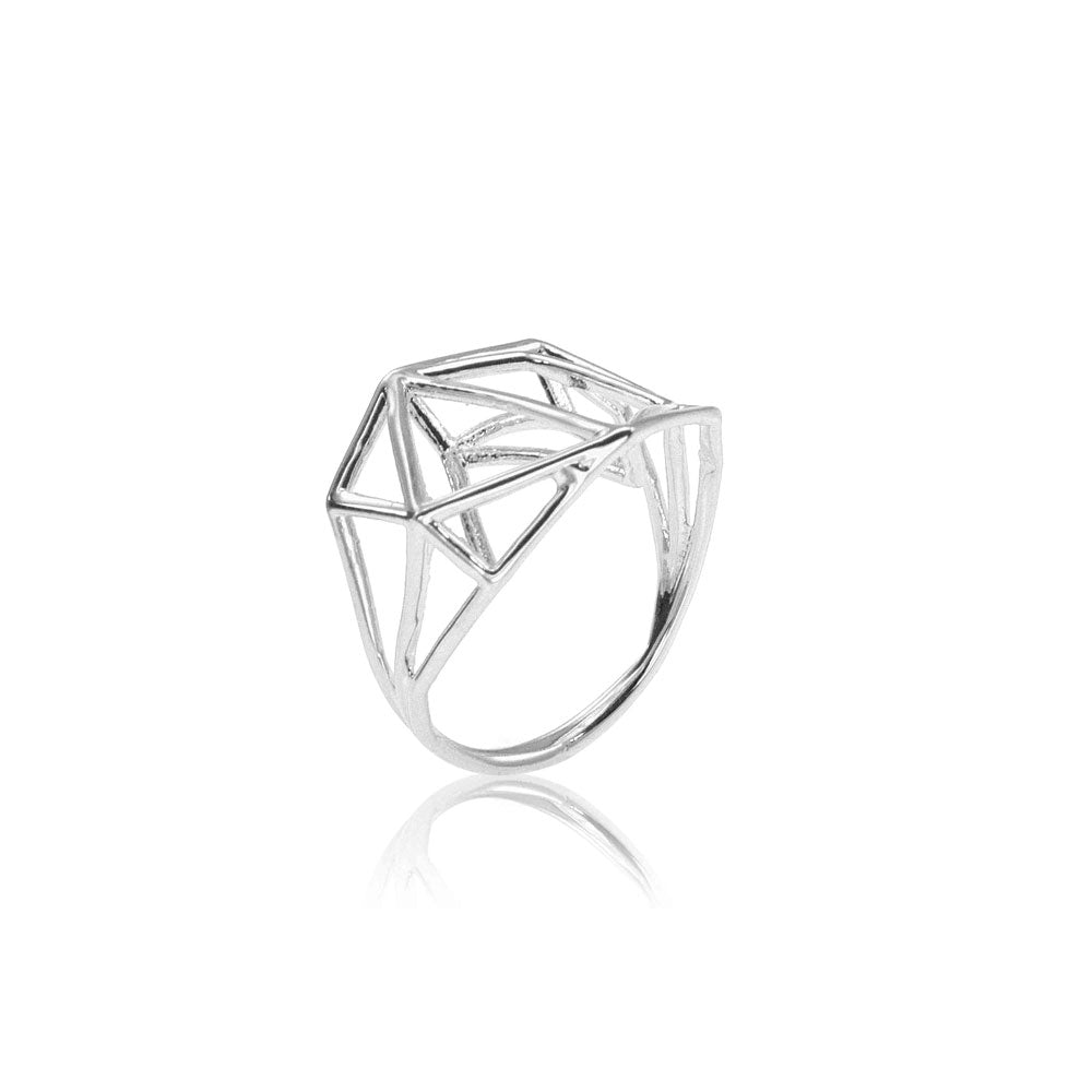 Osnat Har Noy Jewelry, 14k gold ring, 14k white gold geometric ring, 3D ring