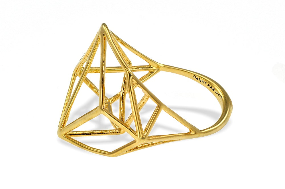 Osnat Har Noy Jewelry, 3D geometric ring, architecture ring, geometric ring, minimalist gold ring, geometric ring, wire ring, designer ring