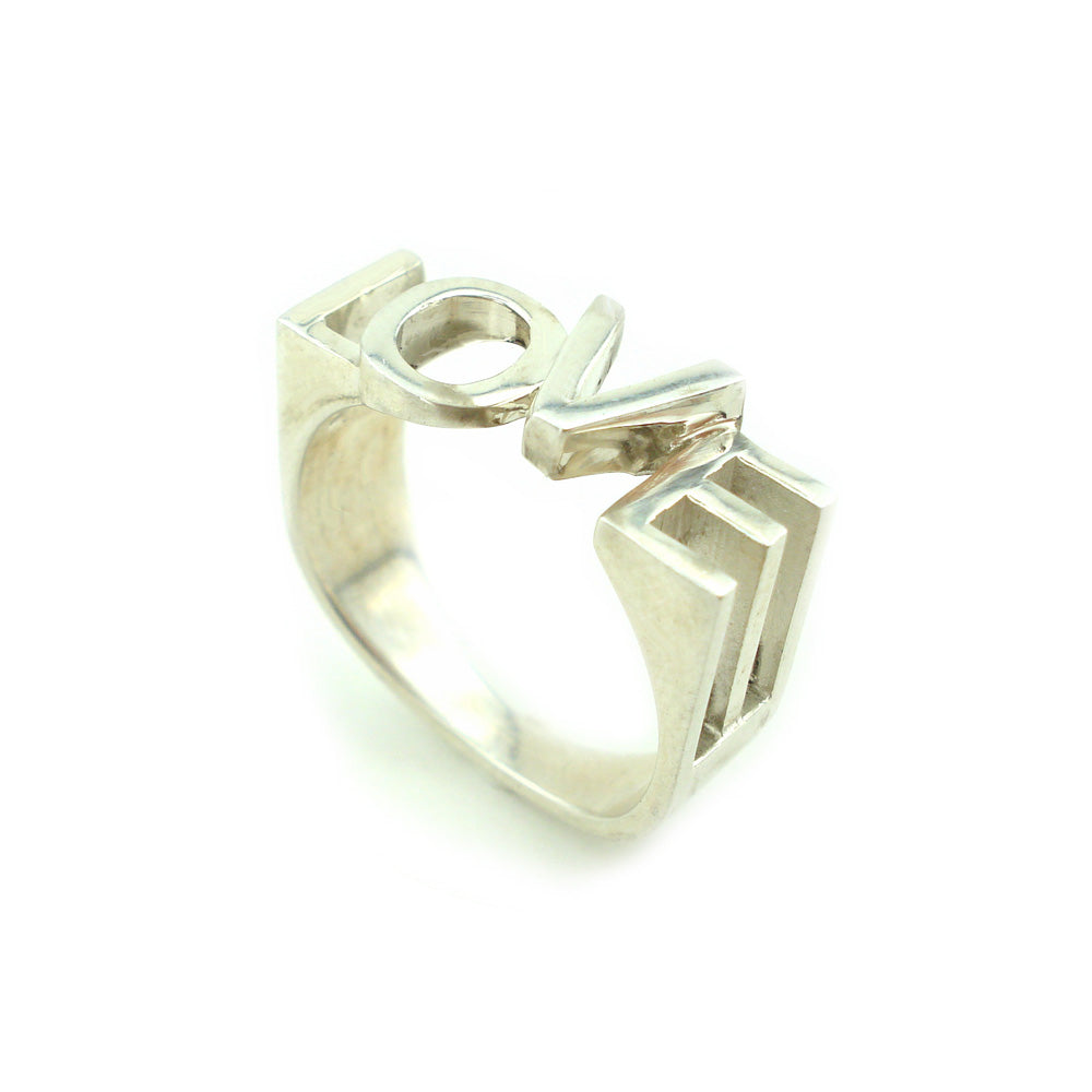 Osnat Har Noy Jewelry, Love Ring, Engagement ring, 3D love ring, 3D love jewelry, geometric ring for her, geometric love ring, valentines ring, silver ring, geometric