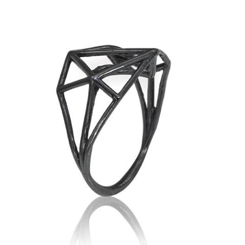 Osnat Har Noy Jewelry, black jewelry, architecture ring, geometric jewelry,  designer ring,  black geometric ring, architecture ring, geometric ring