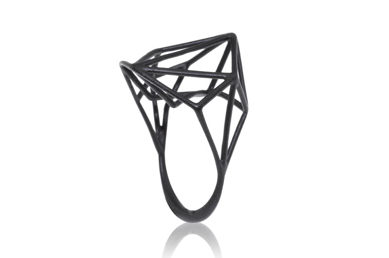 Osnat Har Noy Jewelry, geometric black ring, black architecture ring, black jewelry, black geometric ring, designer ring