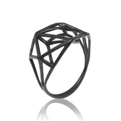 Osnat Har Noy Jewelry, geometric black ring, urban ring, geometric jewelry, black ring, designer ring