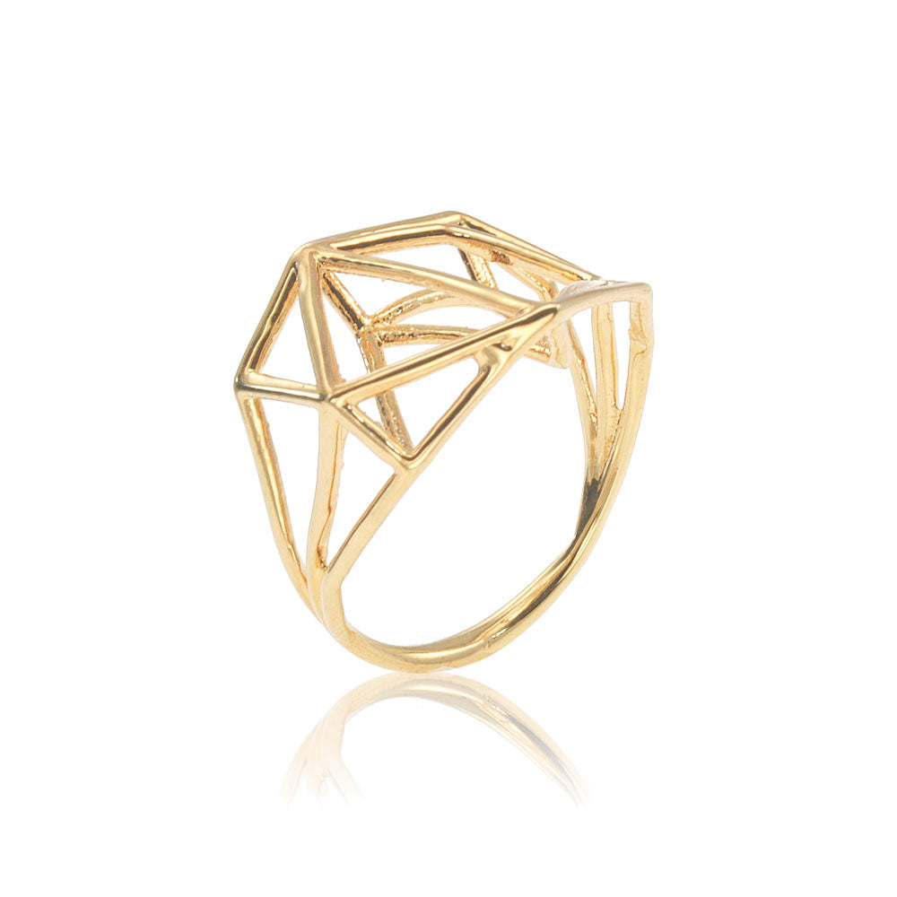 14 Karat Geometric Ring, 3D Ring in 14K Gold, Architecture Structure Ring, 14K Gold Ring, Unique Engagement Ring, Solid gold ring