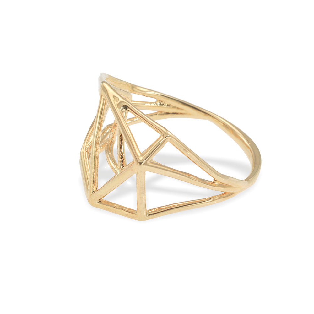 Osnat Har Noy Jewelry, geometric ring, 14k geometric ring, 14k sold gold ring , 14 Karat Geometric Ring, 3D Ring in 14K Gold, Architecture Structure Ring, 14K Gold Ring, Unique Engagement Ring, Solid gold ring