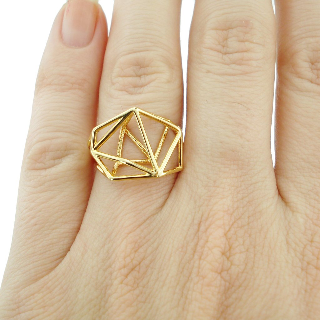 Geometric Ring in Gold-plated Brass