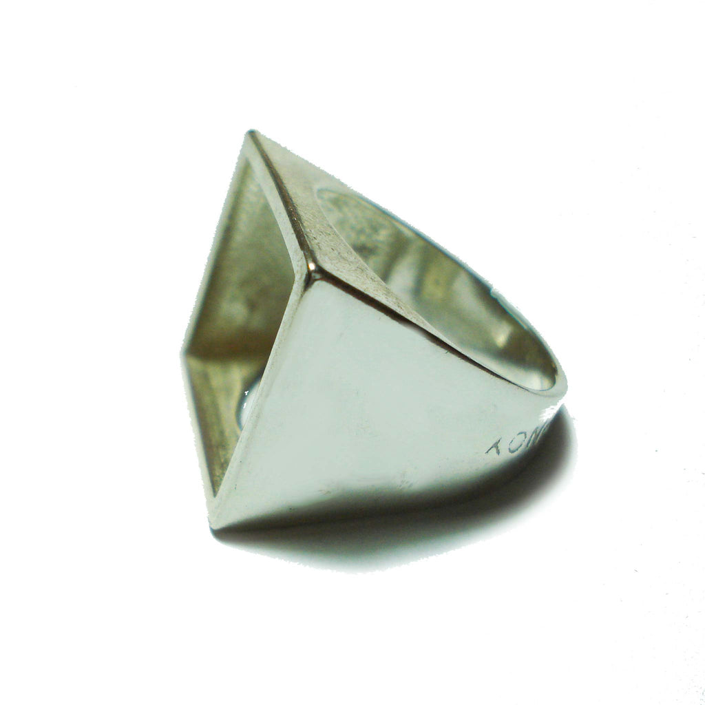 Osnat Har Noy Jewelry, square ring, geometric ring, geometric jewelry, square silver ring, unique square ring