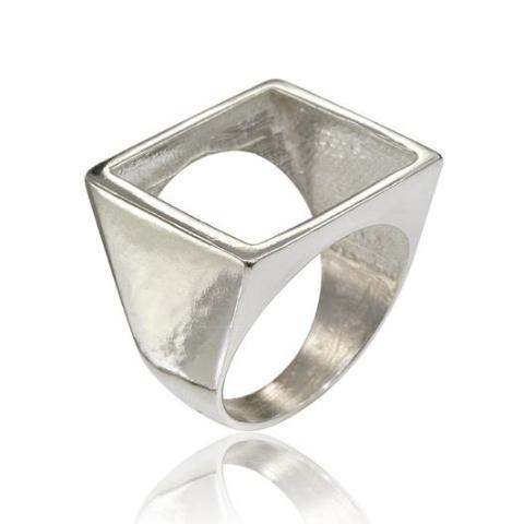 Osnat Har Noy Jewelry, square ring, geometric ring, sterling silver geometric ring, unique square ring, square ring, silver geo ring