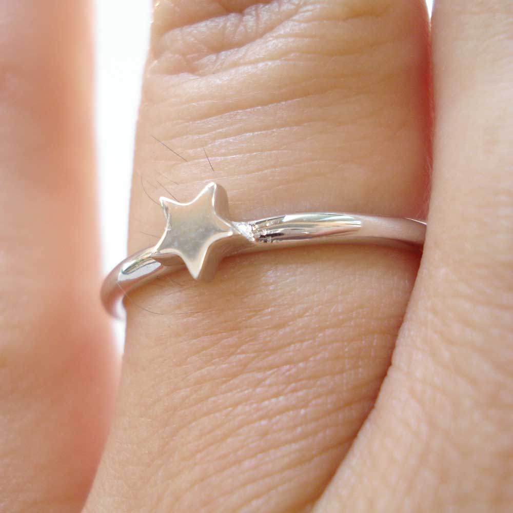 Osnat Har Noy jewelry, solid gold star ring, 14k gold star ring, 14k white gold star  ring, star stacker ring, star solid gold ring, star engagement ring