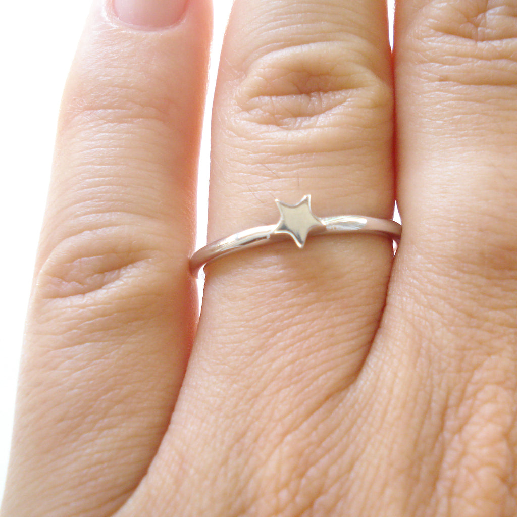 Osnat Har Noy jewelry, solid gold star ring, 14k star engagement ring, 14k white gold star  ring, star stacker ring, star solid gold ring, star engagement ring