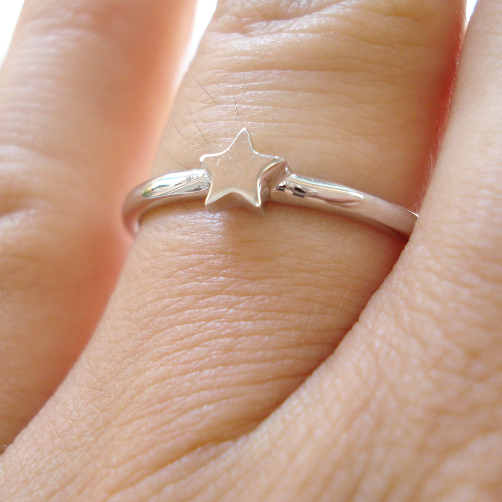Osnat Har Noy jewelry, solid gold star ring, 14k star ring, 14k white gold star  ring, star stacker ring, star solid gold ring, 14k star engagement ring