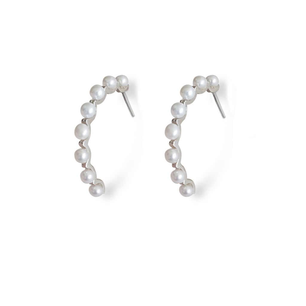 Pearl hoops, pearl bridal earring, pearl silver earrings, fresh water pearl earrings, pearl jewelry for her