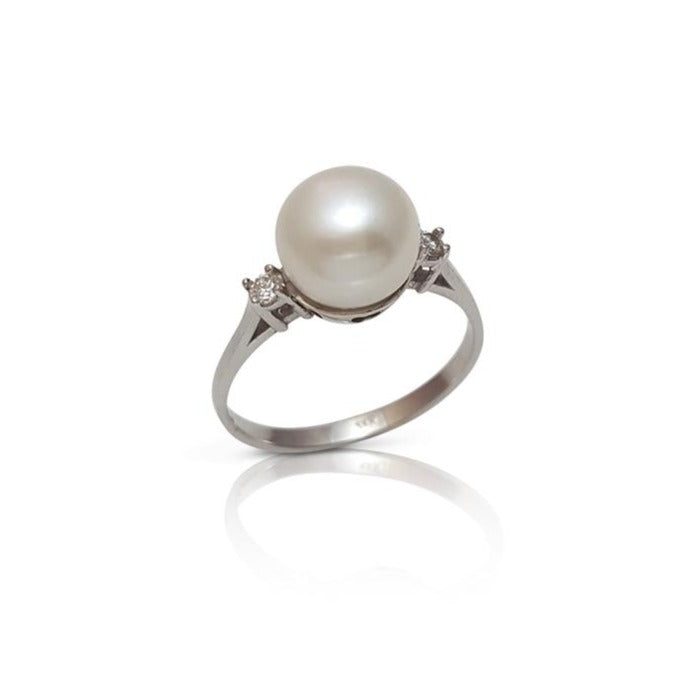 Pearl ring, pearl engagement ring, pearl and diamond ring, engagement ring, antique, vintage ring, June birthstone ring, weddings