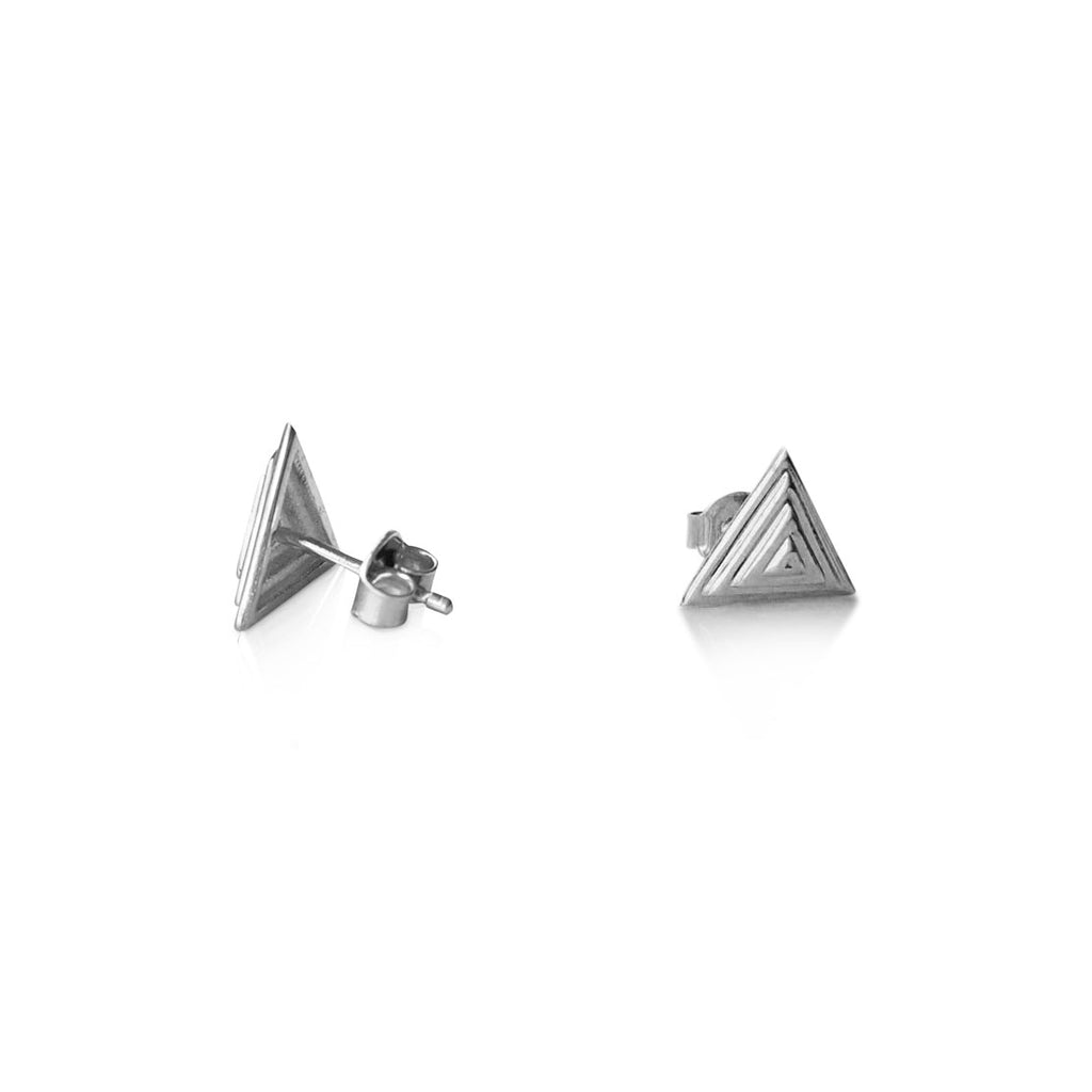 Pyramid stud earrings, 14K white gold pyramid stud earrings, triangle earrings, Stud earrings