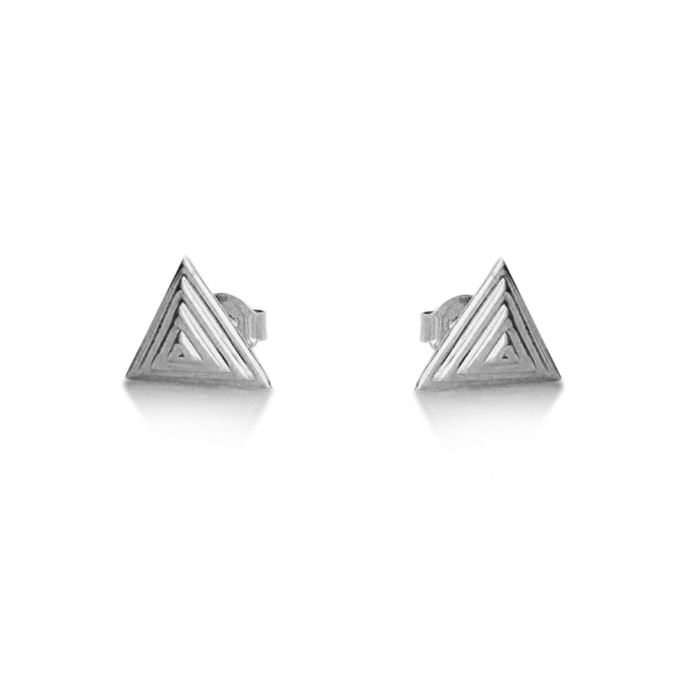 Pyramid stud earrings, 14K white gold pyramid stud earrings, triangle earrings