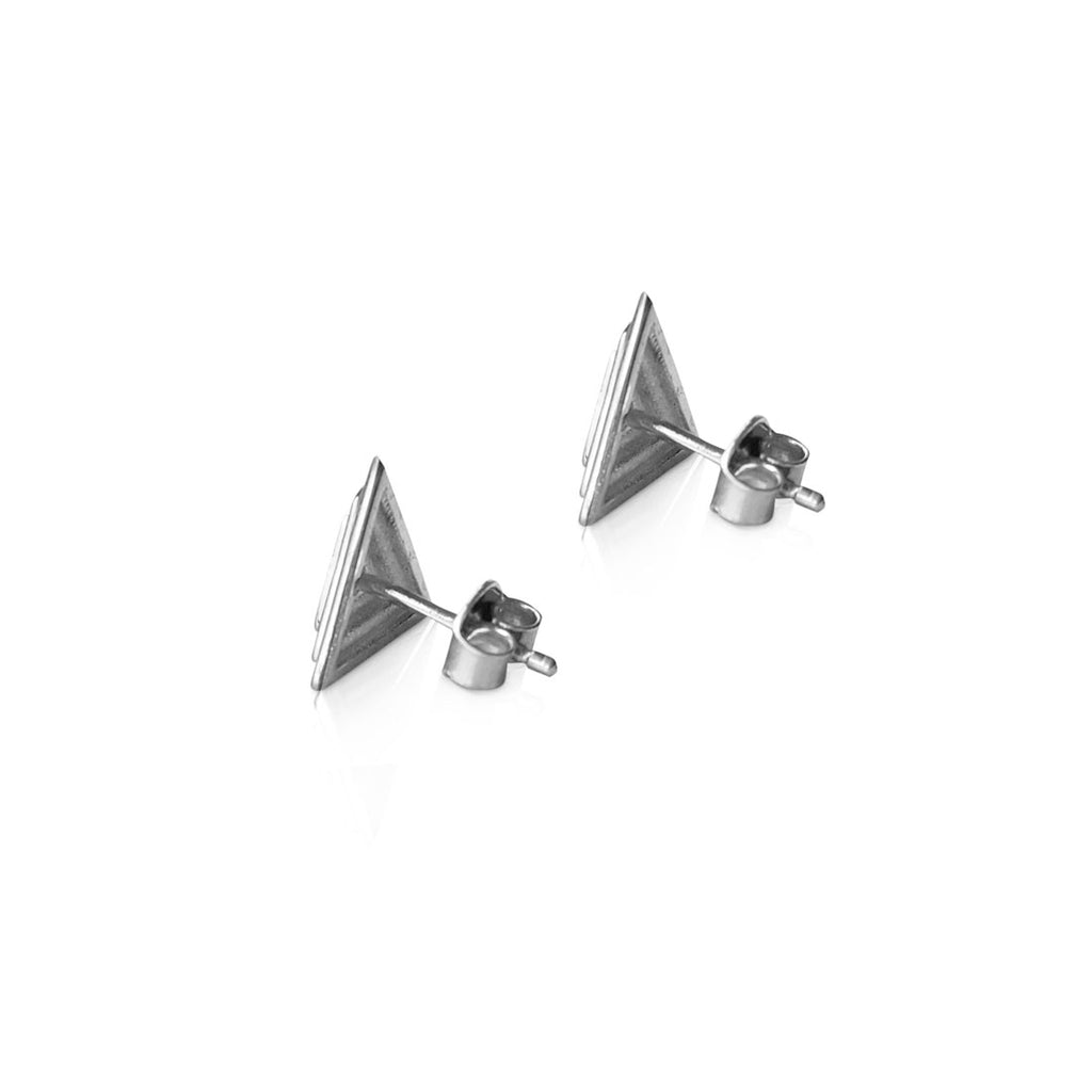 Pyramid stud earrings, 14K white gold pyramid stud earrings, triangle earrings, solid gold stud earrings