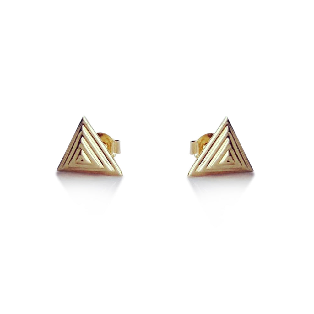 Pyramid stud earrings, 14K yellow gold pyramid stud earrings, triangle earrings