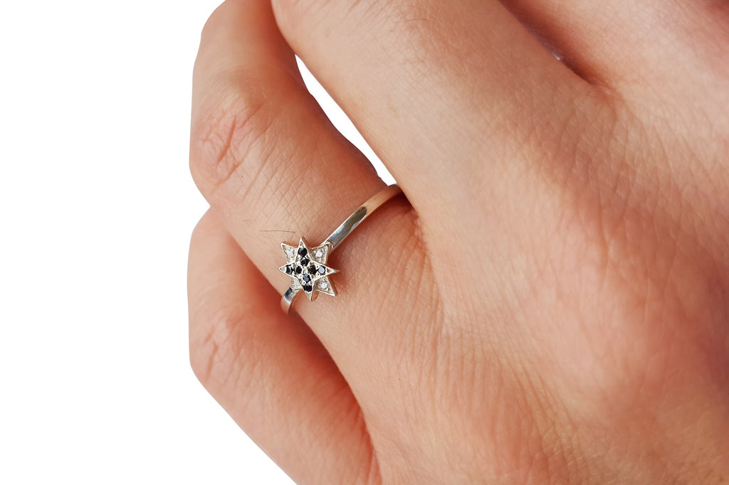 star engagement ring, diamond star ring, bridal ring, delicate star band, stackable star ring, white gold star ring, diamond ring, black diamond rin - Copy
