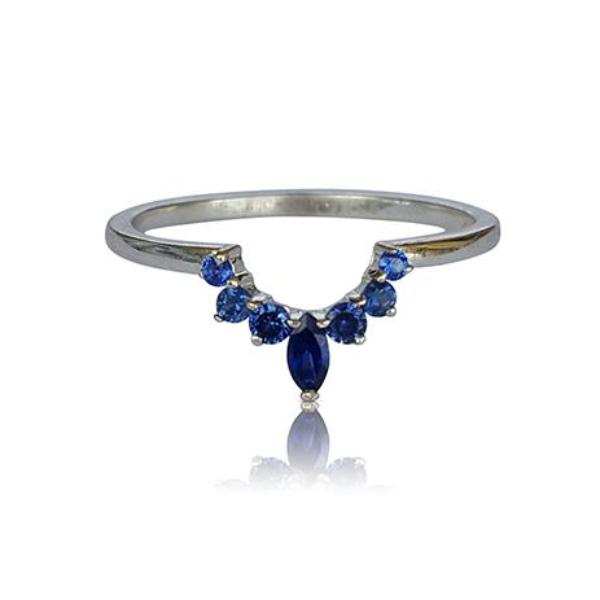 Sapphire ring, nesting ring, crown ring, matching band, matching wedding band, stackable ring