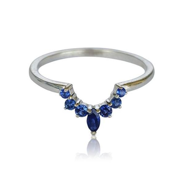 Sapphire ring, nesting ring, crown ring, matching band, matching wedding band, stackable ring, bridal ring