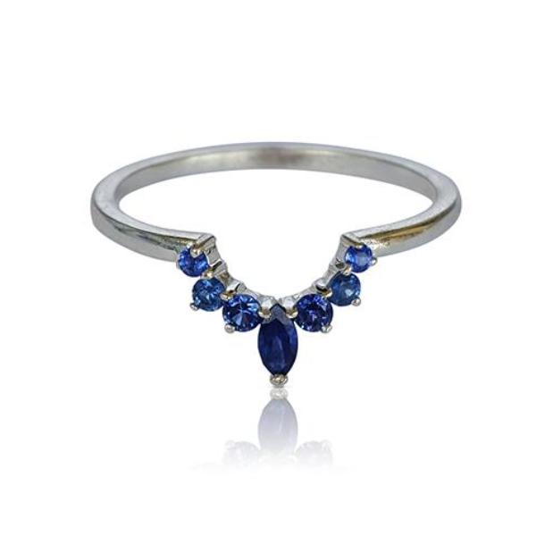 Sapphire ring, nesting ring, crown ring, matching band, matching wedding band, stackable ring, unique band