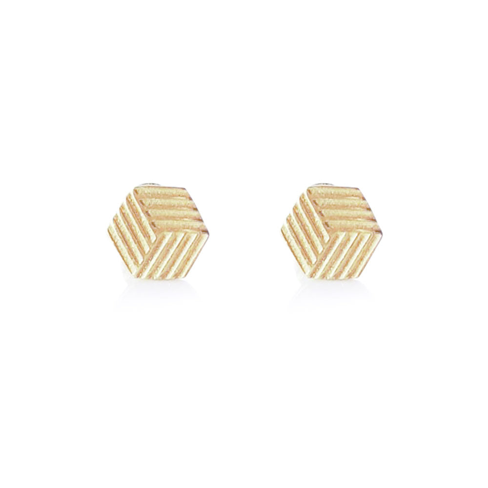 Solid Gold Hexagon Studs, Minimalist Earrings, 14K Hexagon Stud Earrings, Hexagon Stud Earrings, Hexagon Earrings, 6 Sided Polygon Earrings