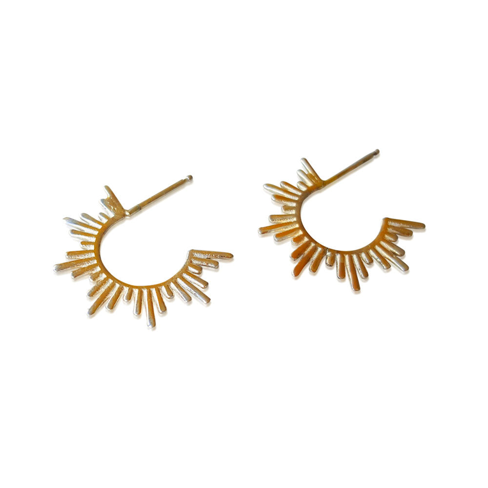 Spike Hoops, Solid Gold Spike earrings, Minimalist Earrings, 14K Spike Stud Earrings, Hoop Earrings, Spike Hoop Earrings