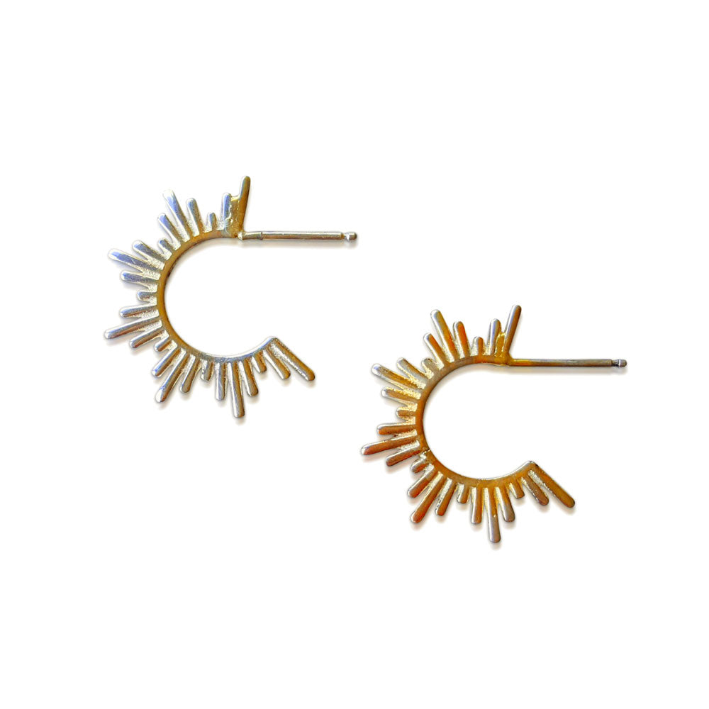Spike Hoops, Solid Gold Spike earrings, Minimalist Earrings, 14K yellow gold Spike Stud Earrings, Hoop Earrings, Spike Hoop Gold Earrings