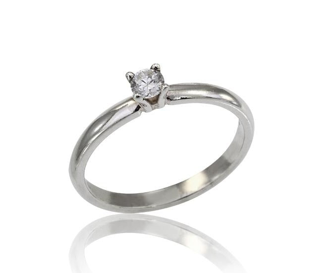 18K Diamond Ring, Diamond Solitaire Promise Ring in 18k White Gold, Classic Diamond Solitaire Engagement Ring, Diamond Ring (0.1 ct. tw.), , 18K diamond ring, 18k engagement ring, 14k solid gold ring, diamond solitaire ring, 18k stackable ring