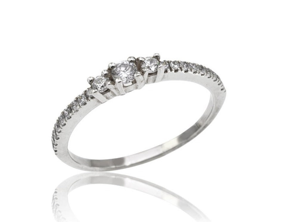 Three Stone Diamond Engagement Ring, 3 Stone Diamond Engagement Ring in 14k White Gold, Petite Micro pavé Trio Diamond Ring (0.33 ct. tw.)