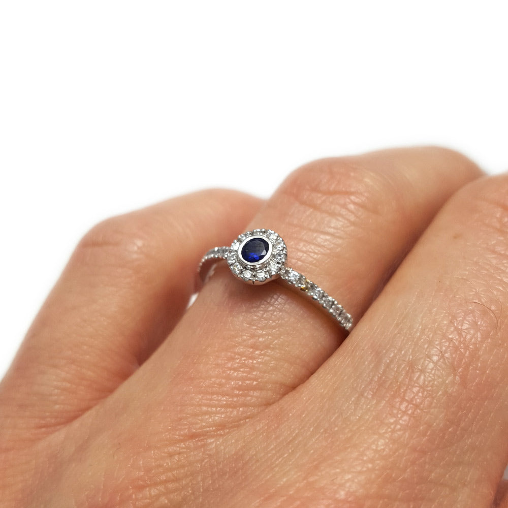 unique engagement ring, sapphire ring, anniversary ring, sapphire engagement ring, wedding band, round sapphire and diamond engagement band, blur sapphire and diamond ring for your future wife, perfect sapphire ring, promise ring, gifts for her