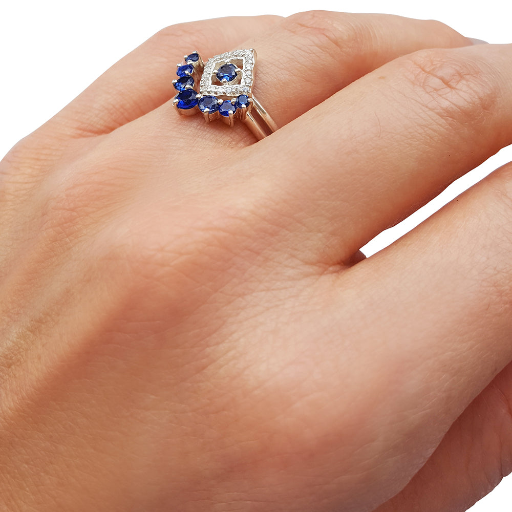 This is a photo of Diamond Lotus and Sapphire Bridal Set in 40K White Gold – Osnat