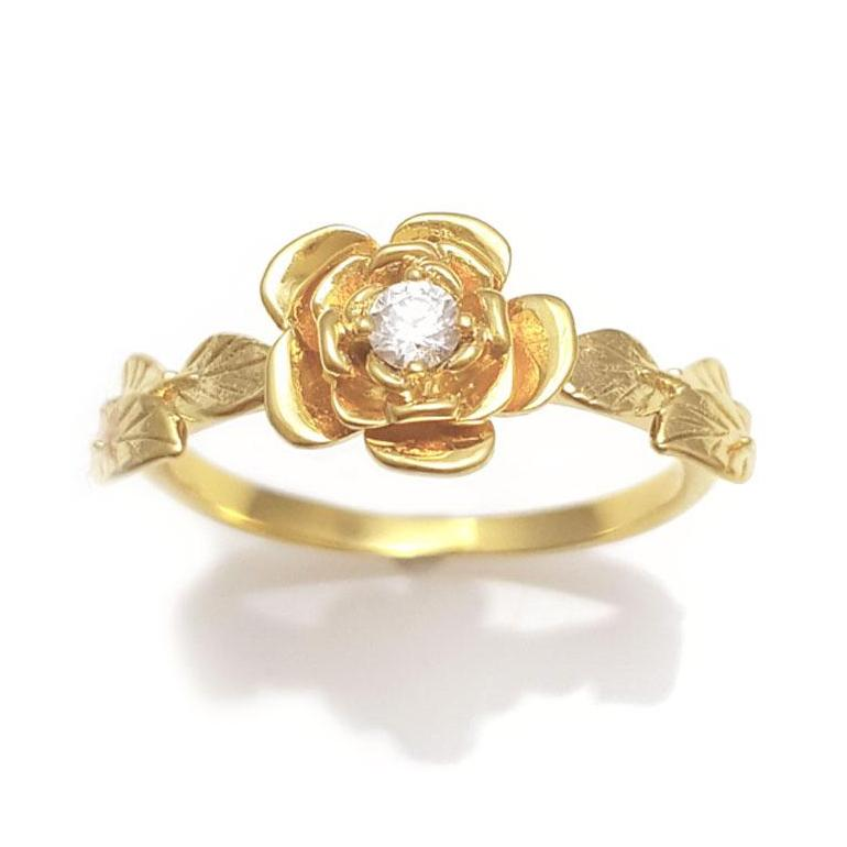 diamond rose engagement ring, diamond flower Ring, rose ring,  Flower Diamond Engagement Ring, Unique Engagement, 14K Flower & Leaves Ring, Vintage, Diamond Leaf Ring, Diamond Rose Ring, Flower Stackable, 14K diamond Leaves Ring,  14 KARAT vine ring,  Art Nouveau Ring, Antique,  diamond,