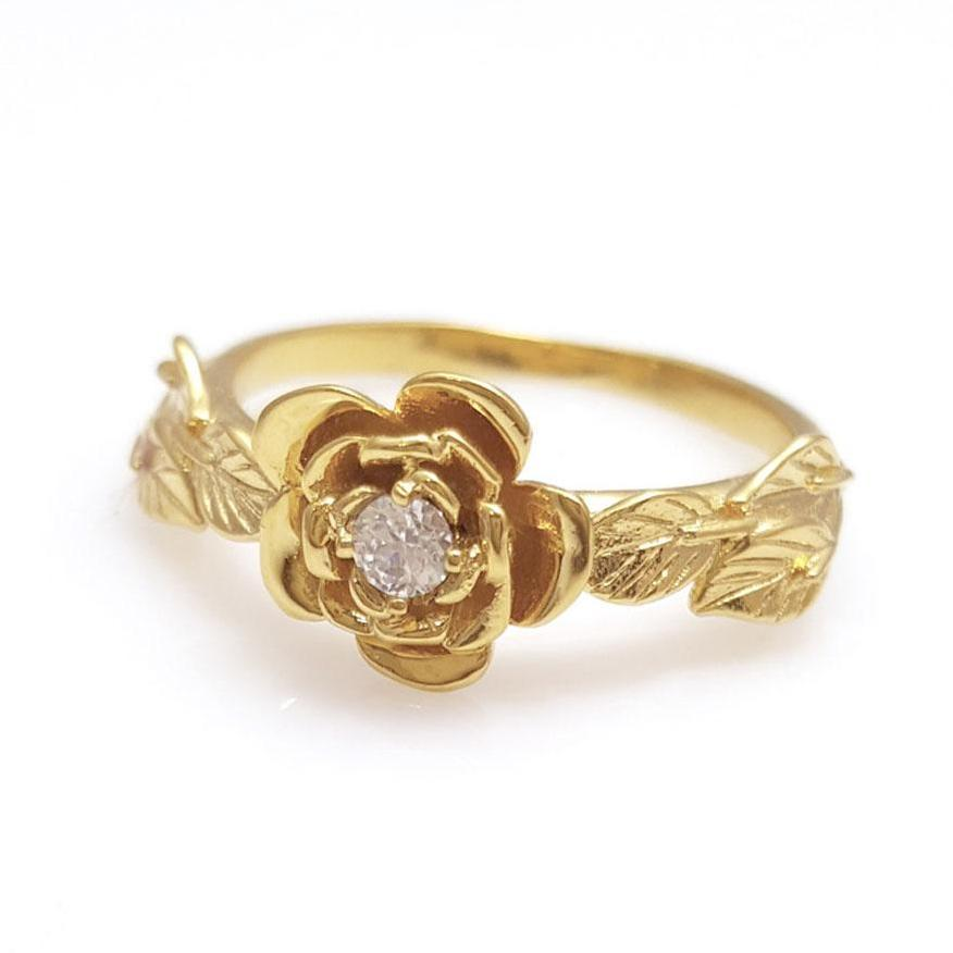 diamond rose engagement ring, diamond flower Ring, rose ring,  14K diamond Leaves Ring, Vintage, 14 KARAT vine ring,  Ring, diamond rose ring, Flower Diamond Engagement Ring, Unique Engagement, 14K Flower & Leaves Ring, Vintage, Diamond Leaf Ring, Diamond Rose Ring, Flower Stackable