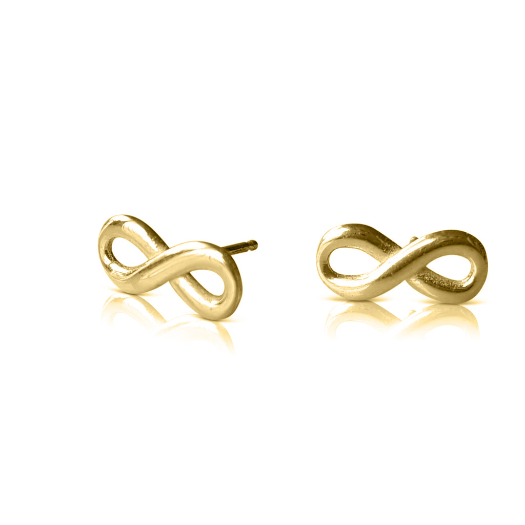 infinity earrings, infinity stud earrings, infinity jewelry, infinity post, 14K yellow gold earrings, infinity gold earrings, infinity