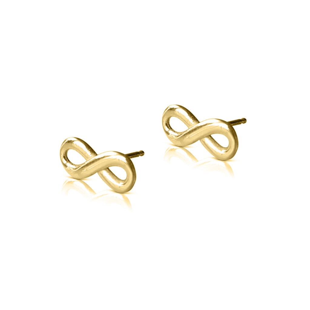 infinity earrings, infinity stud earrings, infinity jewelry, infinity post, 14k yellow gold studs, infinity gold earrings, infinity