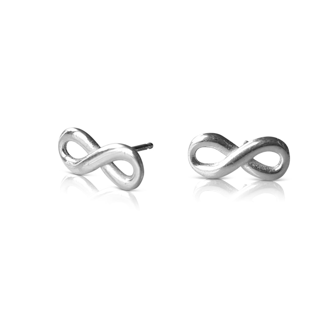 infinity earrings, infinity stud earrings, infinity jewelry, infinity post, infinity gold earrings, 14K white gold infinity