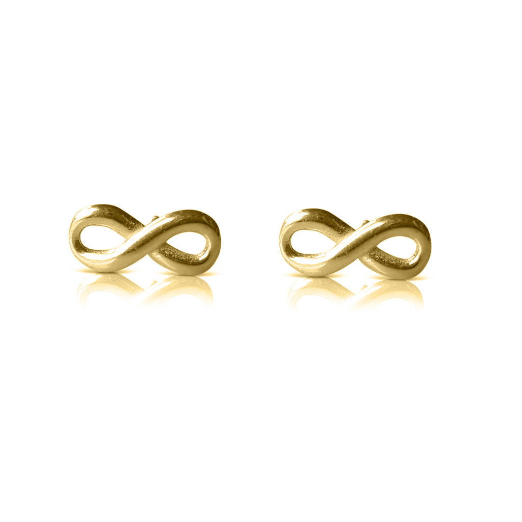 infinity earrings, infinity stud earrings, infinity jewelry, infinity post, yellow gold, infinity gold earrings, infinity