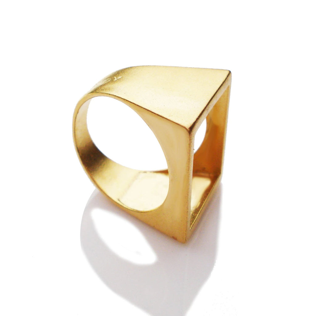 open square ring, brass geometric ring, square ring, minimalist ring square jewelry, geometric open square gold plated ring
